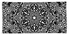 Hand Towel featuring the digital art Black And White Mandala 34 by Robert Thalmeier
