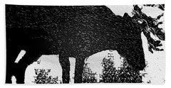 Black And White Moose Hand Towel