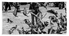 Black And White Of Boy Feeding Pigeons In Sarajevo, Bosnia And Herzegovina  Hand Towel