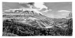 Black And White Of Coldwater Lake And Mt. St. Helens Bath Towel