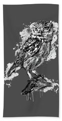 Bath Towel featuring the mixed media Black And White Owl by Marian Voicu
