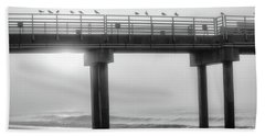 Hand Towel featuring the photograph Black And White Pier Alabama  by John McGraw
