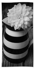Black And White Pitcher With Dahila Hand Towel