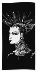Hand Towel featuring the digital art Black And White Punk Rock Girl by Marian Voicu