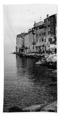 Black And White - Rovinj Venetian Buildings And Adriatic Sea, Istria, Croatia Bath Towel