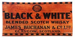 Black And White Scotch Whiskey Wood Sign Bath Towel