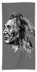 Hand Towel featuring the mixed media Black And White Sioux Warrior Watercolor by Marian Voicu