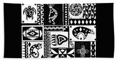 Bath Towel featuring the painting Black And White Southwest Sampler by Susie WEBER