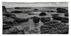 Black And White Sunset At Low Tide Bath Towel