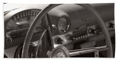 Black And White Thunderbird Steering Wheel  Hand Towel by Heather Kirk