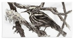Black-and-white Warbler Bath Towel