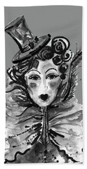 Hand Towel featuring the mixed media Black And White Watercolor Fashion Illustration by Marian Voicu