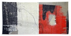 Bath Towel featuring the painting Black And White With Red Box by Michelle Calkins