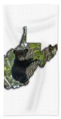 Bath Towel featuring the photograph Black Bear Cub Climbing Down A Tree by Dan Friend