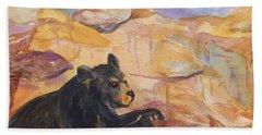 Black Bear Cub Bath Towel by Ellen Levinson