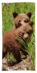Black Bear Cubs Bath Towel