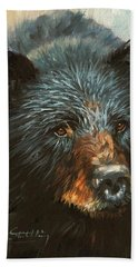 Bath Towel featuring the painting Black Bear by David Stribbling