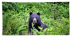 Hand Towel featuring the photograph Black Bear Eating His Veggies by Peggy Collins