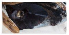 Hand Towel featuring the digital art Black Bear In Its Winter Den by Chris Flees