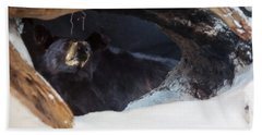 Bath Towel featuring the digital art Black Bear In Its Winter Den by Chris Flees