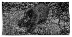 Black Bear Salmon Seeker Hand Towel
