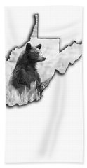 Bath Towel featuring the photograph Black Bear Standing by Dan Friend