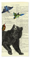 Black Bear With Colorful Tropical Birds Hand Towel