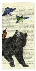 Black Bear With Colorful Tropical Birds Bath Towel