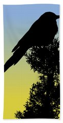 Black-billed Magpie Silhouette At Sunrise Hand Towel