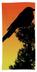 Black-billed Magpie Silhouette At Sunset Hand Towel