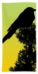 Black-billed Magpie Silhouette - Special Request Background Hand Towel