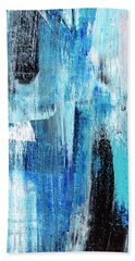 Hand Towel featuring the painting Black Blue Abstract Painting by Christina Rollo