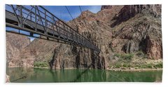 Black Bridge Over The Colorado River At Bottom Of Grand Canyon Hand Towel