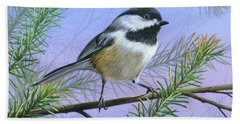 Black Cap Chickadee Bath Towel