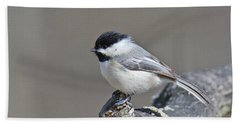 Bath Towel featuring the photograph Black Capped Chickadee 1128 by Michael Peychich
