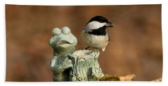 Black-capped Chickadee And Frog Hand Towel by Sheila Brown