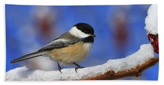 Black-capped Chickadee In Sumac Bath Towel by Tony Beck
