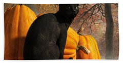 Black Cat At Halloween Hand Towel by Daniel Eskridge