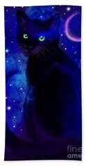 Hand Towel featuring the painting Black Cat Blues  by Nick Gustafson