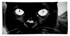 Black Cat Bath Towel by Gina O'Brien