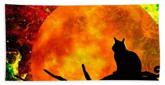 Black Cat Harvest Moon Hand Towel