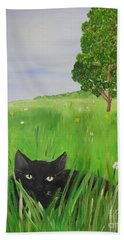Black Cat In A Meadow Hand Towel