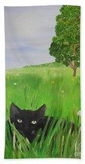 Black Cat In A Meadow Hand Towel