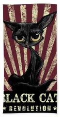Black Cat Revolution Bath Towel