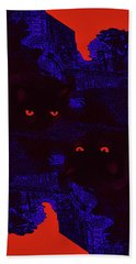 Black Cat Under A Blood Red Moon Hand Towel