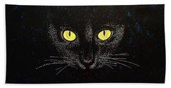 Black Cat Hand Towel by Viktor Lazarev