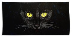 Black Cat Bath Towel by Viktor Lazarev