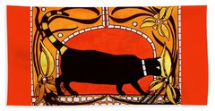 Black Cat With Floral Motif Of Art Nouveau By Dora Hathazi Mendes Bath Towel