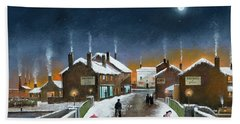 Hand Towel featuring the painting Black Country Winter by Ken Wood