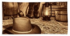 Black Cowboy Hat In An Old Barn Hand Towel